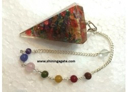 DYED ORGONE FACETTED PENDULUM WITH CHAKRA CHAIN