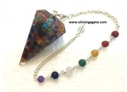 ORGONE FACETTED PENDULUM WITH CHAKRA CHAIN (NATURAL STONE)
