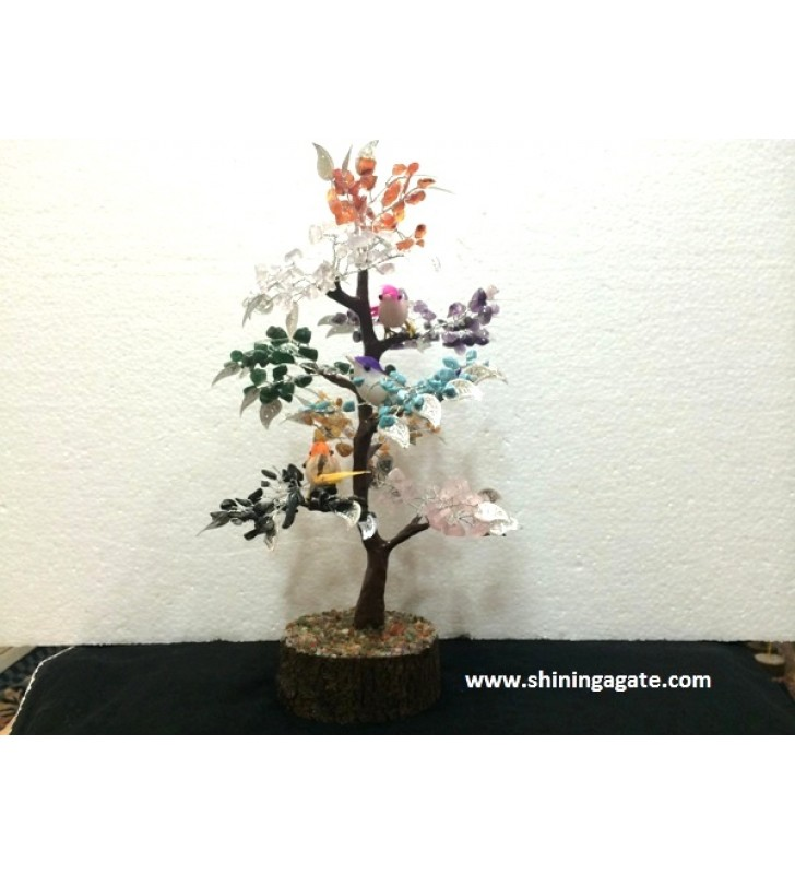 SEVEN CHAKRA GEMSTONE TREE WITH SPARROWS