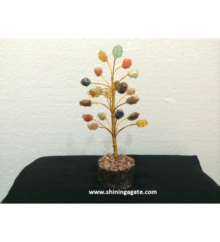 20BDS MULTI COLOR TUMBLE WIRE WRAPPED GEMSTONE TREE