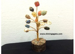15BDS MULTI COLOR TUMBLE WIRE WRAPPED GEMSTONE TREE