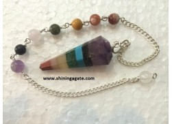 BONDED CHAKRA SIX FACETTED PENDULUM WITH CHAKRA CHAIN
