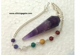 AMETHYST TWELVE FACETTED PENDULUM WITH CHAKRA CHAIN