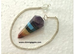 BONDED CHAKRA SIX FACETTED PENDULUM WITH POINT