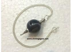 BLACK ONYX SILVER MOUNTED BALL PENDULUM
