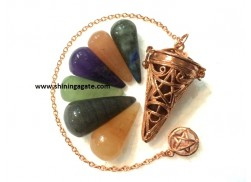 BRONZE PENTAGRAM BIG CAGE PENDULUM WITH CHAKRA CONES