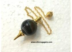 BLACK ONYX GOLDEN MOUNTED BALL PENDULUM