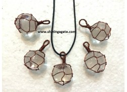 CRYSTAL QUARTZ COPPER WIRE WRAPPED BALL PENDANT WITH CORD