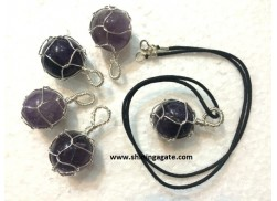AMETHYST SILVER WIRE WRAPPED BALL PENDANT WITH CORD