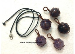 AMETHYST COPPER WIRE WRAPPED BALL PENDANT WITH CORD