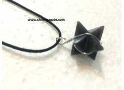 BLUE AVENTURINE MERKABA STAR SILVER WIRE WRAPPED PENDANT WITH CORD