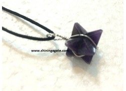 AMETHYST MERKABA STAR SILVER WIRE WRAPPED PENDANT WITH CORD
