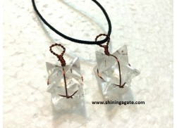 CRYSTAL QUARTZ MERKABA STAR COPPER WIRE WRAPPED PENDANT WITH CORD