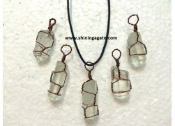 CRYSTAL QUARTZ COPPER WIRE WRAPPED PENCIL PENDANT WITH CORD