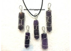 AMETHYST SILVER WIRE WRAPPED PENCIL PENDANT WITH CORD
