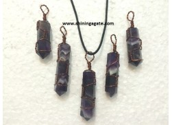 AMETHYST COPPER WIRE WRAPPED PENCIL PENDANT WITH CORD