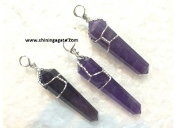 AMETHYST SILVER WIRE WRAPPED DOUBLE POINT PENCIL PENDANT