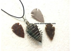 BLOOD STONE WIRE WRAPPED CAGE ARROWHEAD PENDANTS WITH CORD