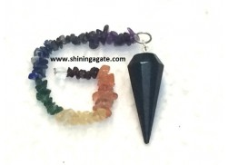 BLACK TOURMALINE 12 FACETTED PENDULUM WITH CHAKRA CHAIN