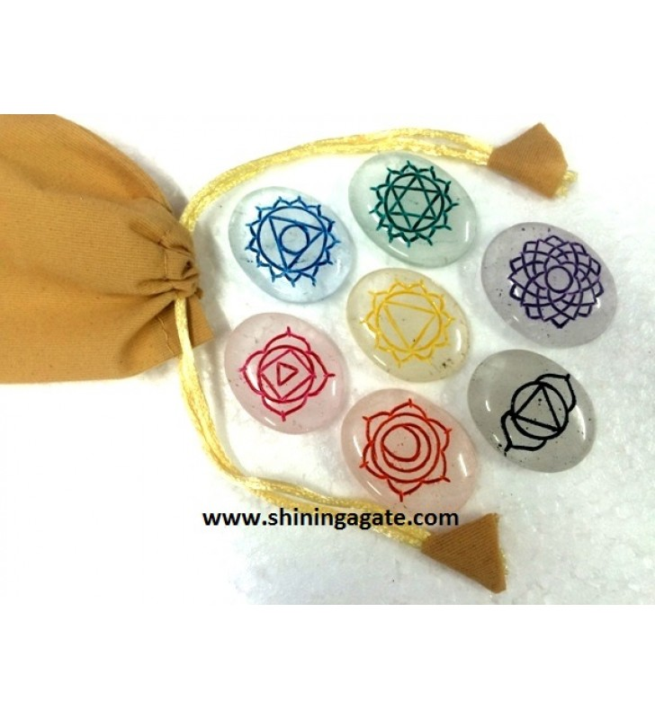 CRYSTAL QUARTZ ENGRAVE CHAKRA COLOURFUL OVAL SET WITH GOLDEN POUCH