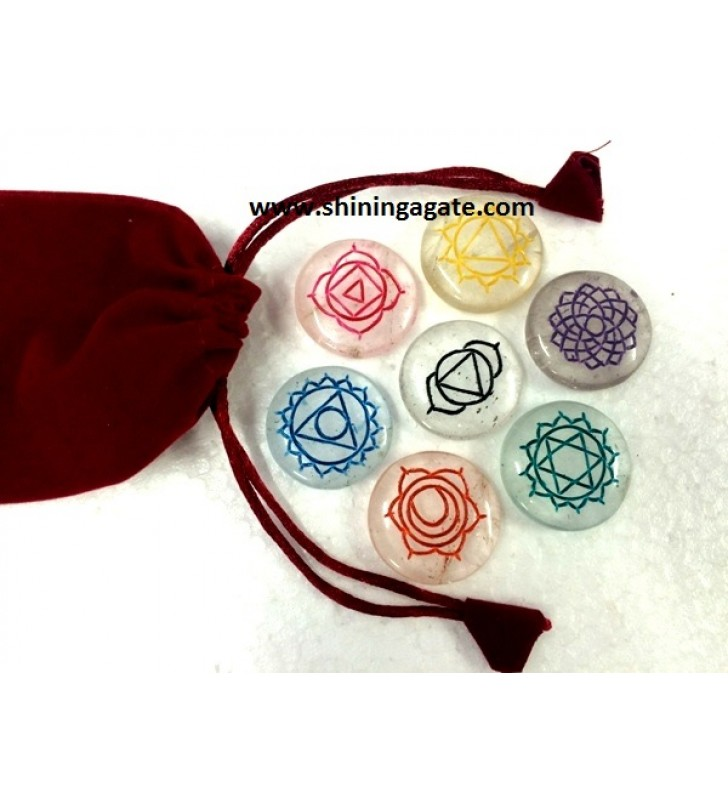 CRYSTAL QUARTZ ENGRAVE CHAKRA COLOURFUL DISC SET WITH RED POUCH