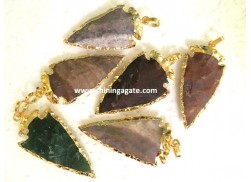 2INCH FANCY JASPER ELECTRO PLATED ARROWHEAD PENDANTS