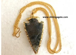 MOSS AGATE 2 INCH ELECTRO PLATED ARROWHEAD NECKLACE