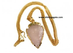 ROSE QUARTZ 1 INCH ELECTRO PLATED ARROWHEAD NECKLACE