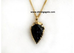 BLACK OBSIDIAN 1 INCH ELECTRO PLATED ARROWHEAD NECKLACE