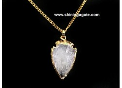 CRYSTAL QUARTZ 1 INCH ELECTRO PLATED ARROWHEAD NECKLACE