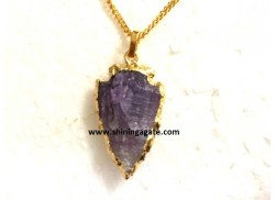 AMETHYST 1 INCH ELECTRO PLATED ARROWHEAD NECKLACE