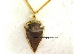 BLOOD STONE 2 INCH ELECTRO PLATED ARROWHEAD NECKLACE