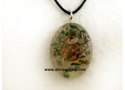 GREEN AVENTURINE ORGONE OVAL PENDANT WITH CORD