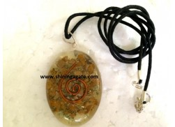 CAMEL AGATE ORGONE OVAL PENDANT WITH CORD