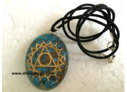 BLUE TURQUOISE CHAKRA ENGRAVED ORGONE OVAL PENDANT WITH CORD