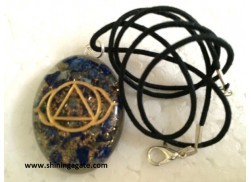 LAPIS LAZULE CHAKRA ENGRAVED ORGONE OVAL PENDANT WITH CORD