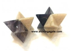 BONDED AMETHYST AND MOONSTONE MEDIUM SIZE MERKABA STAR