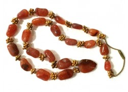 RED CARNELIAN 25 BEADS NECKLACE WITH HEART PENDANT AND GOLDEN FLOWERS