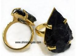 BLACK OBSIDIAN ARROWHEAD FINGER RINGS