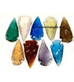 MIX COLOR GLASS ARROWHEADS (2 INCH)