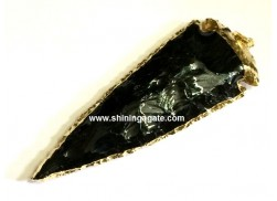 BLACK OBSIDIAN 4INCH ELECTROPLATED ARROWHEAD PENDANT