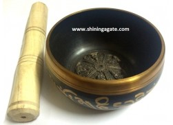 TIBETAN SINGING BOWL WITH FIVE SMALL EMBOSSED BUDDHA (4 INCH)