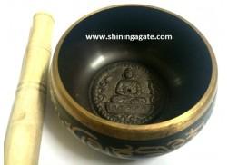 TIBETAN SINGING BOWL WITH EMBOSSED BUDDHA (4 INCH)