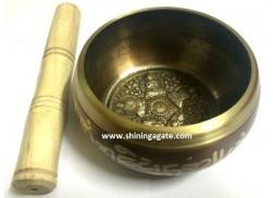 TIBETAN SINGING BOWL WITH FIVE EMBOSSED BUDDHA (4.5 INCH)