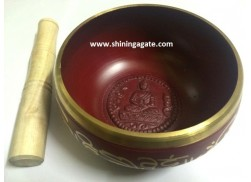 TIBETAN RED COLOR BIG SIZE SINGING BOWL WITH EMBOSSED BUDDHA