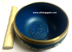 TIBETAN BLUE COLOR BIG SIZE SINGING BOWL WITH EMBOSSED BUDDHA