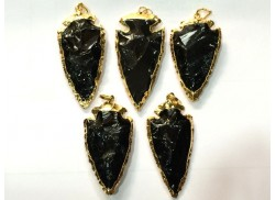 BLACK OBSIDIAN 2INCH GOLDEN ELECTROPLATED ARROWHEAD PENDANT