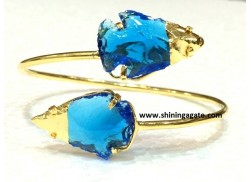 BLUE COLOR GLASS TWO TONE ARROWHEAD BANGLE