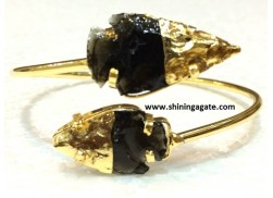BLACK OBSIDIAN TWO TONE ARROWHEAD BANGLE