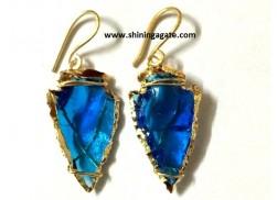 BLUE COLOR GLASS ARROWHEAD EARRINGS